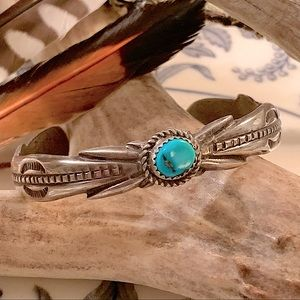 Vintage E. Sam Sterling & Turquoise Cuff